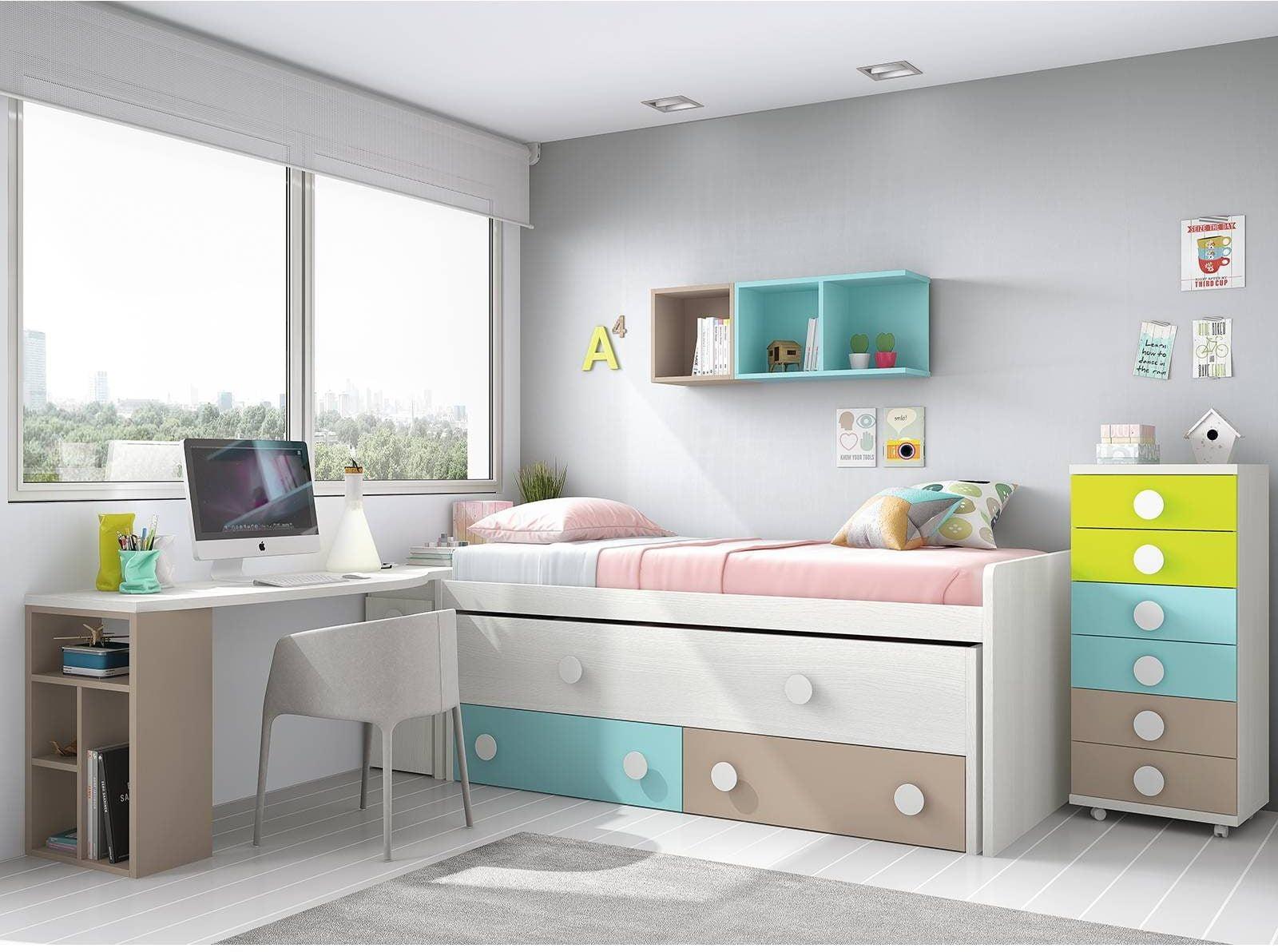 Los 5 mejores dormitorios juveniles con cama nido en for Muebles juveniles merkamueble