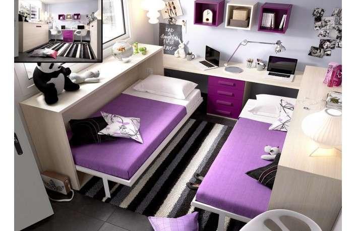 Camas abatibles horizontales con escritorio y cajonera Muebles BOOM