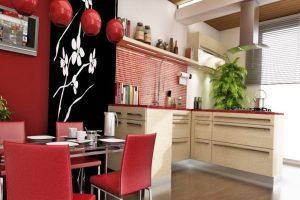 cocina roja oriental