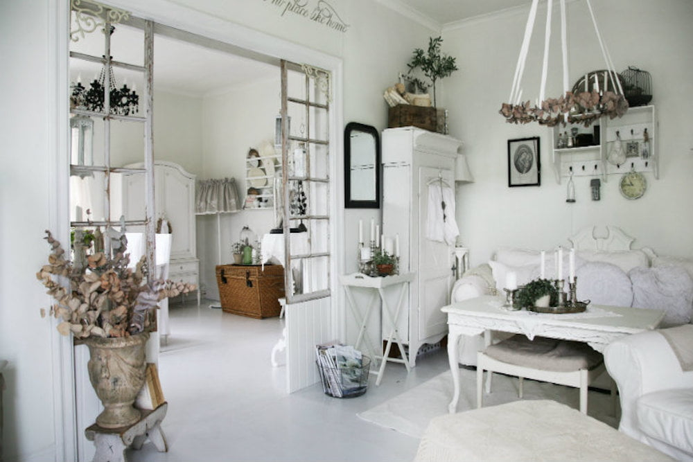 decoracion salon shabby chic