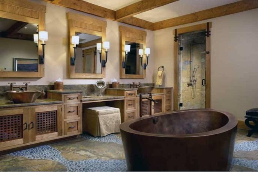 baños rusticos con ducha de obra