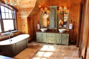 como decorar baños rusticos