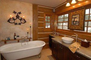 como decorar un baño estilo rustico