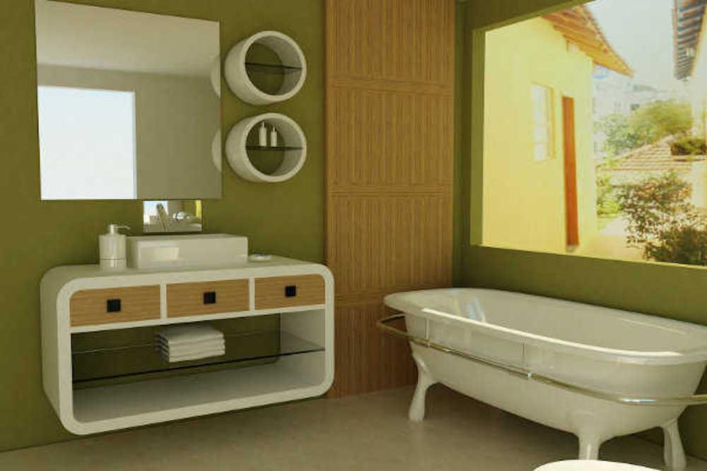 ideas baño verde oliva