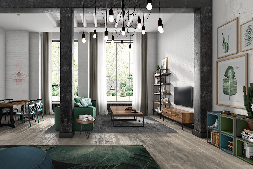 ideas para decorar un salon moderno industrial