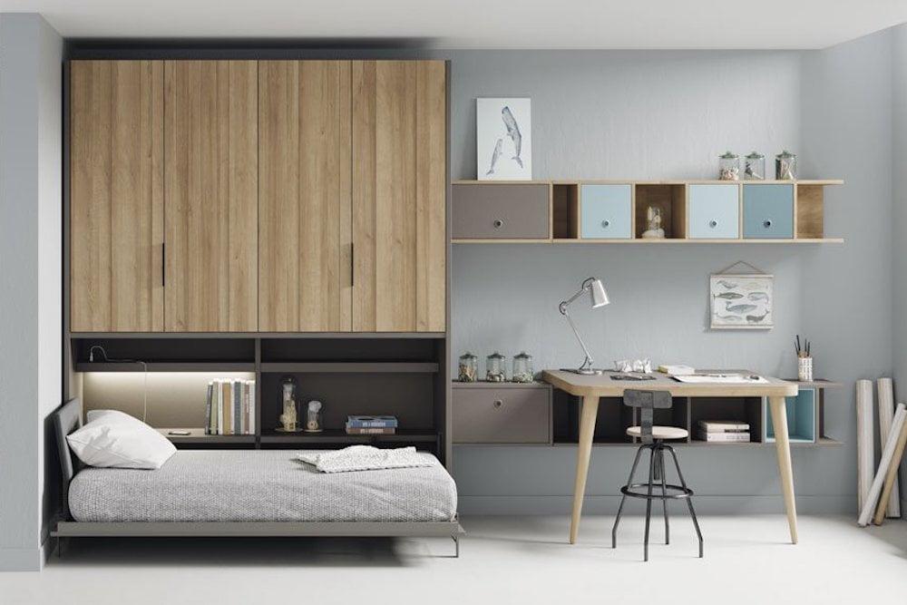 dormitorio juvenil con muebles modulares