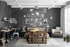 dormitorio matrimonio estilo industrial