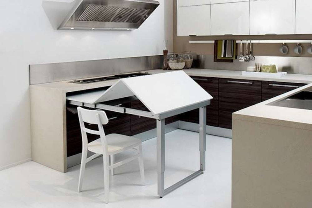 cocina con mesa invisible