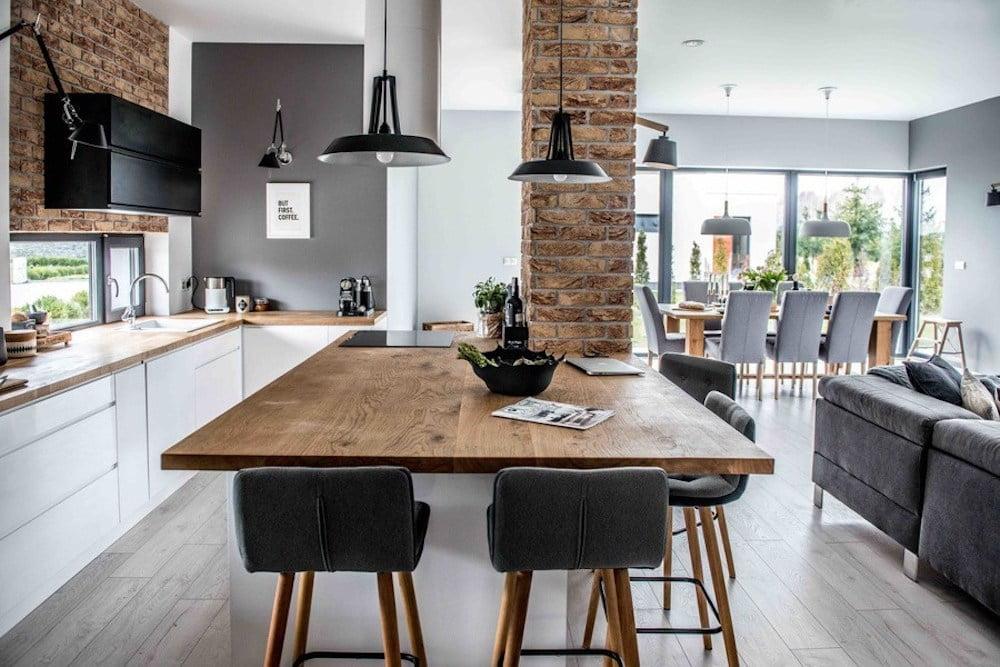 cocina salon con mesa