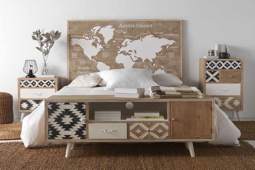 dormitorio nordico etnico