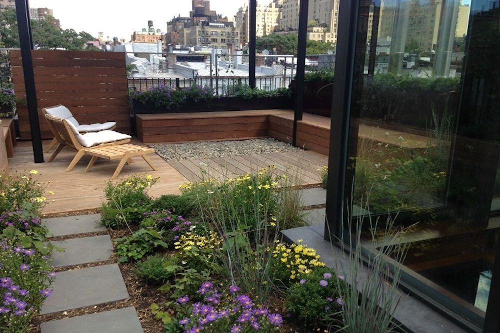 azotea con jardin rustico